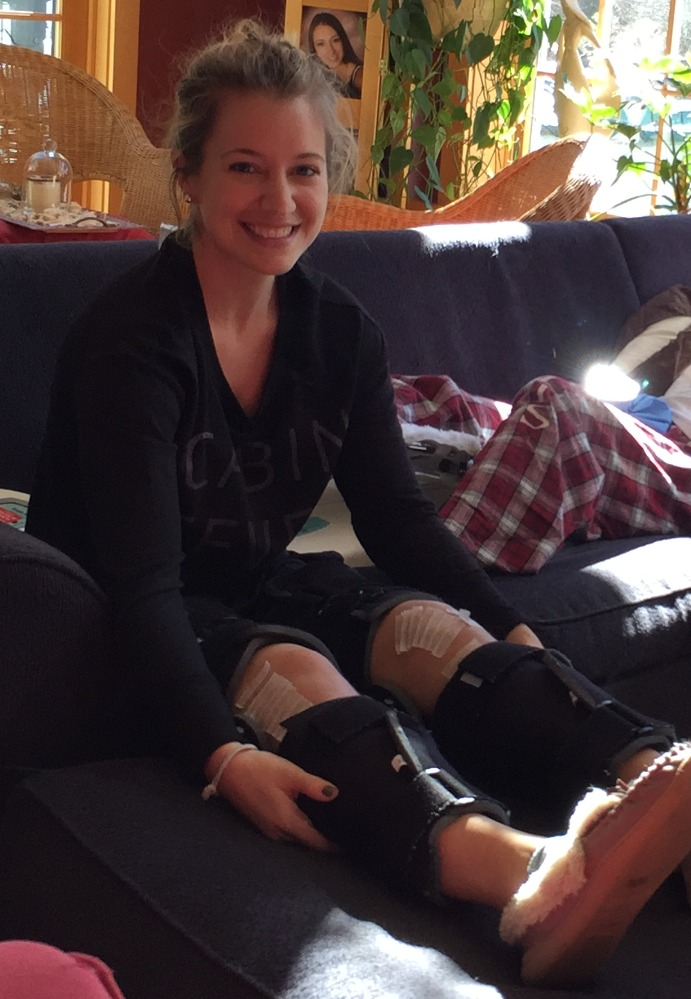 Jen with braces on her leg during recovery