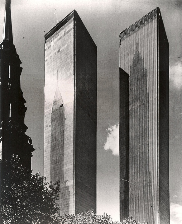 Proposal for Shadows of the Empire State and Chrysler Buildings on the North Sides of the World Trade Towers
