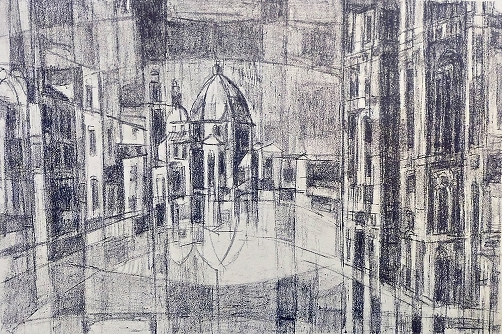"Venetian Cityscape (  1956)      lithograph,  11"" x 14"""