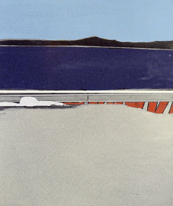 "Blue Landscape   (1963)      oil and collage on canvas,   66"" x 54"""