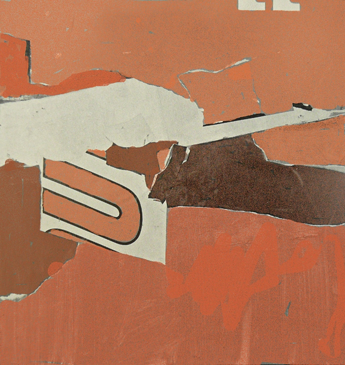 "Red U   (1963)      oil and collage on canvas,   52""x 49"""