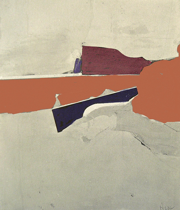 "Red Band   (1963)      oil and collage on canvas,   60"" x 48"""