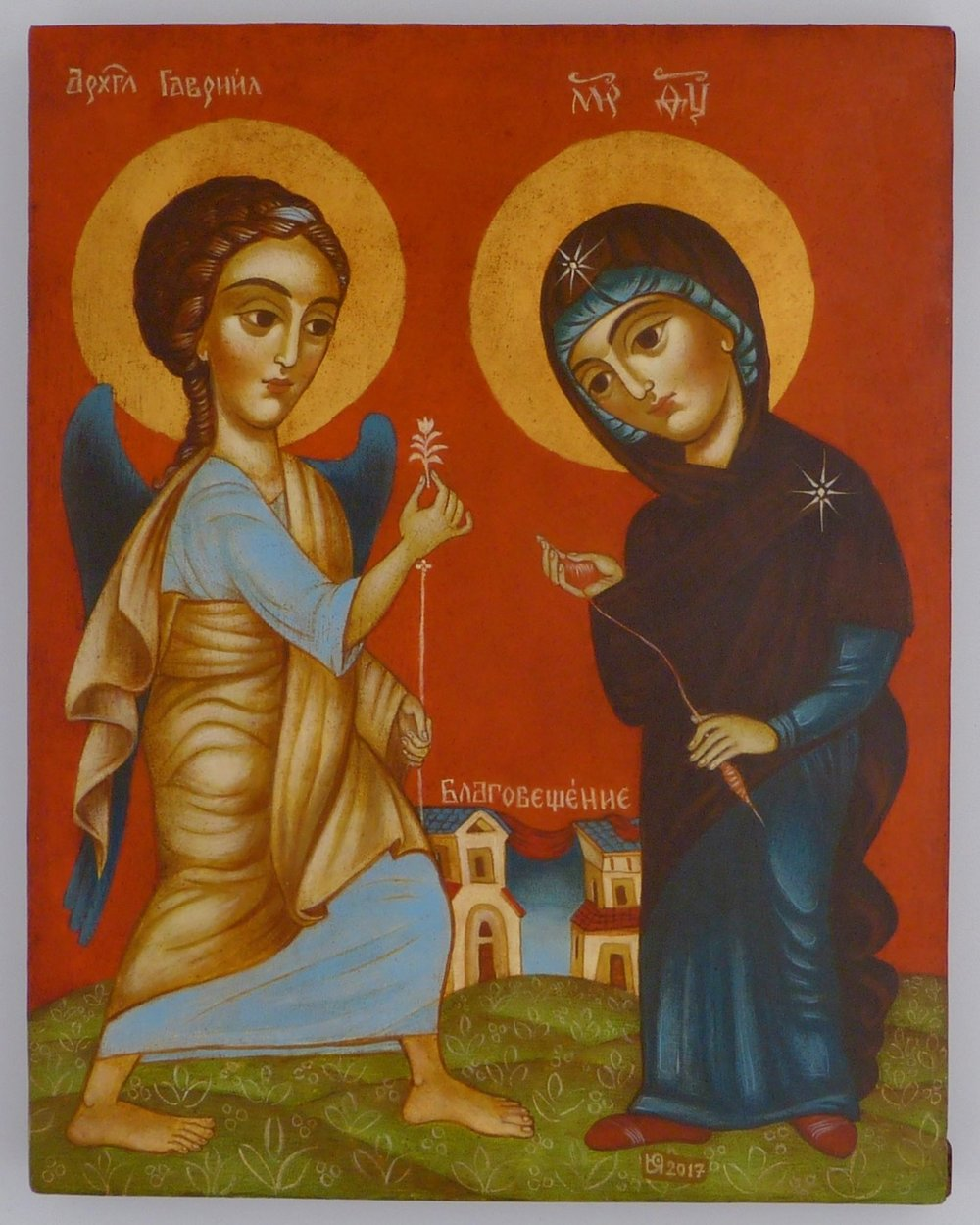 "The Annunciation By Iconographer and Fine Artist Julia Stankova Sofia, Bulgaria 8"" x 10"" Inquire about Price"