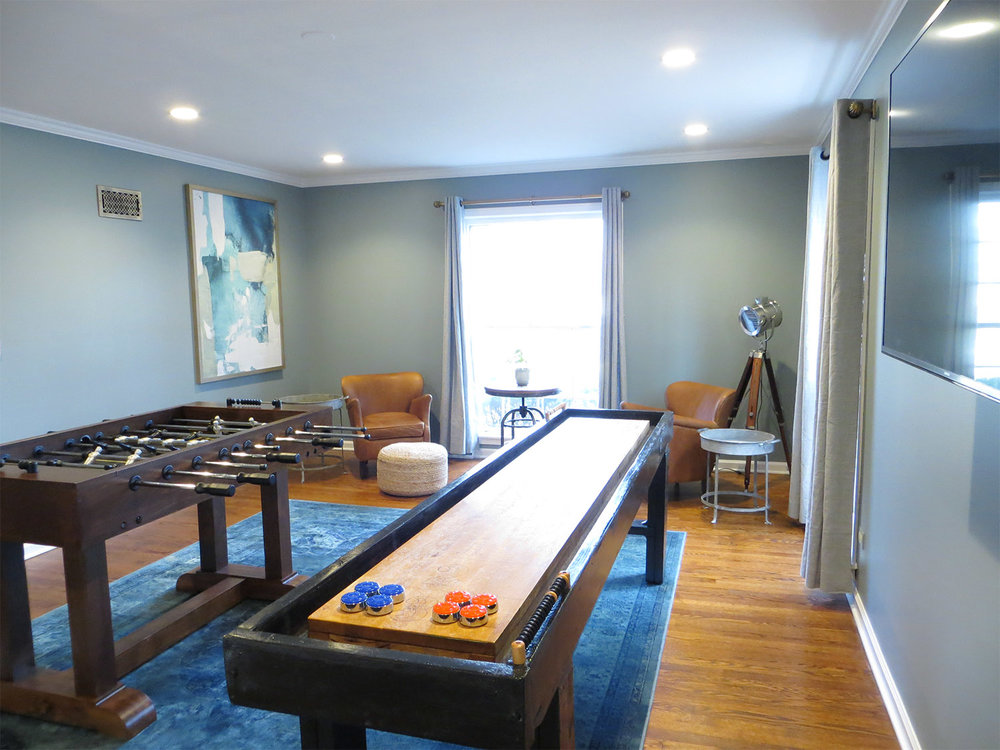 Art: Minted // Foosball Table: Pottery Barn // Shuffleboard: Antique