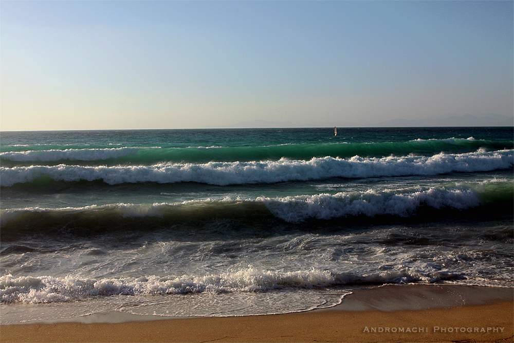 summer waves in a windsurf spot, Agios Ioannis, Lefkada, Greece