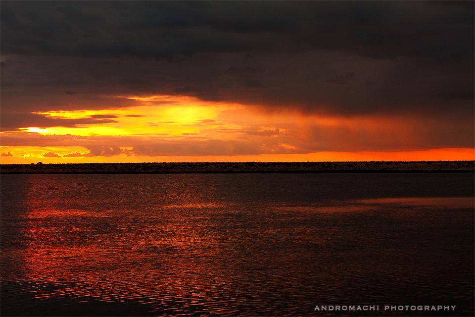 Sunset on the way to Agios Nikolaos island