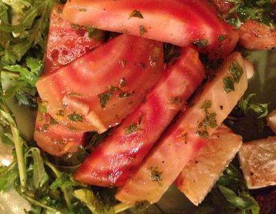 Beets and arugula with raspberry mint vinaigrette