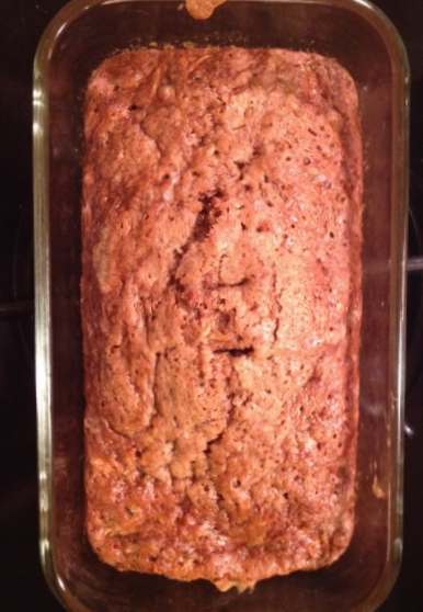 Zucchini bread fresh out of the oven. It's always nice to have baked goods in the house.
