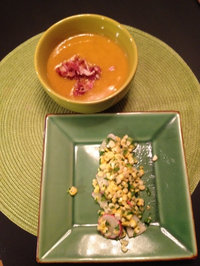 Butternut squash soup (with crispy bacon on top) and corn salad