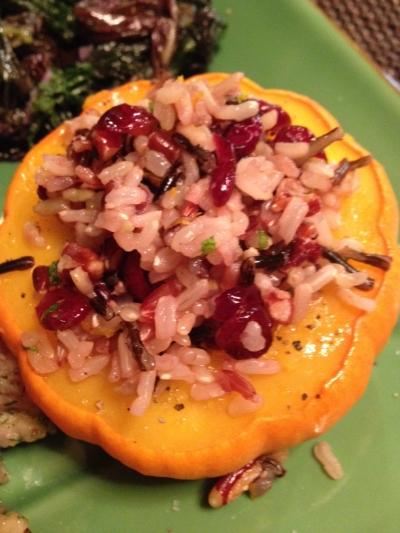Mini pumpkins stuffed with wild rice