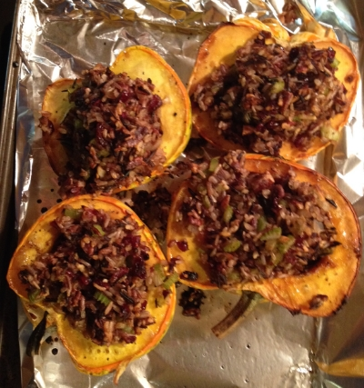 The acorn squash stuffed with wild rice