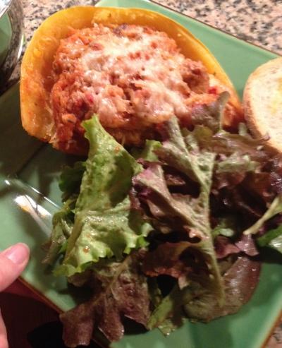 Stuffed spaghetti squash and salad