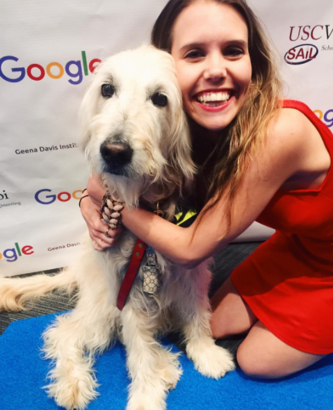 instagram @katherineparkin - with Wellington the Golden Doodle at Google :)