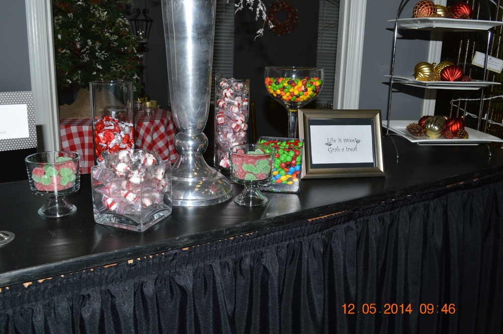 "Candy Bar: Variety of glassware: Mini trifle bowl, 4""x4""x4"" vase, Large margarita glass, 9""x3.5"" cylinder vase, and bar are all featured."