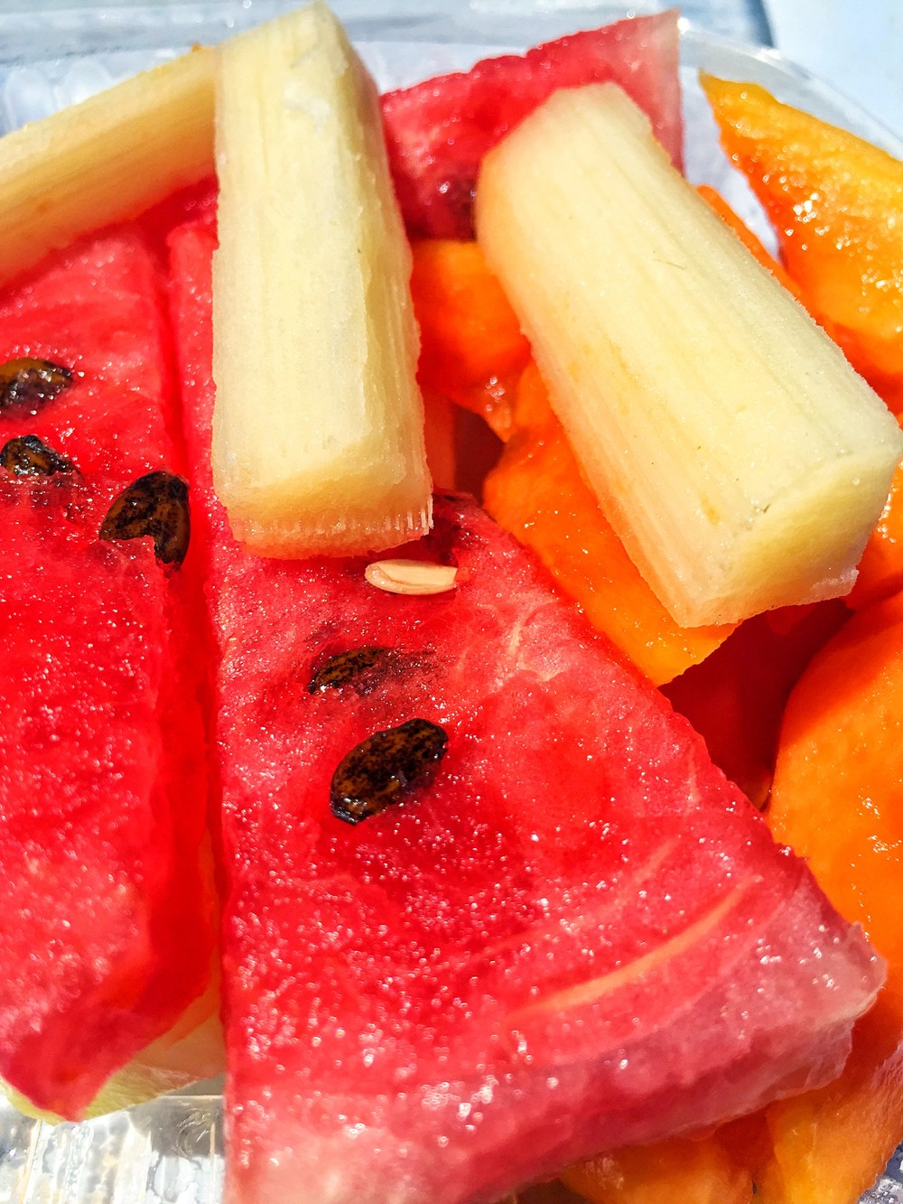 Sugar cane, watermelon and papaya