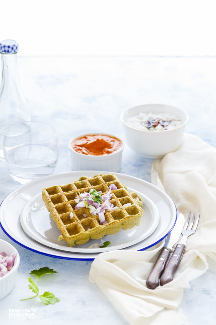Green Gram Lentil Waffles with Coconut Chutney and Red Bell Pepper Chutney from Sandhya's Kitchen are eggless, vegan and gluten free.