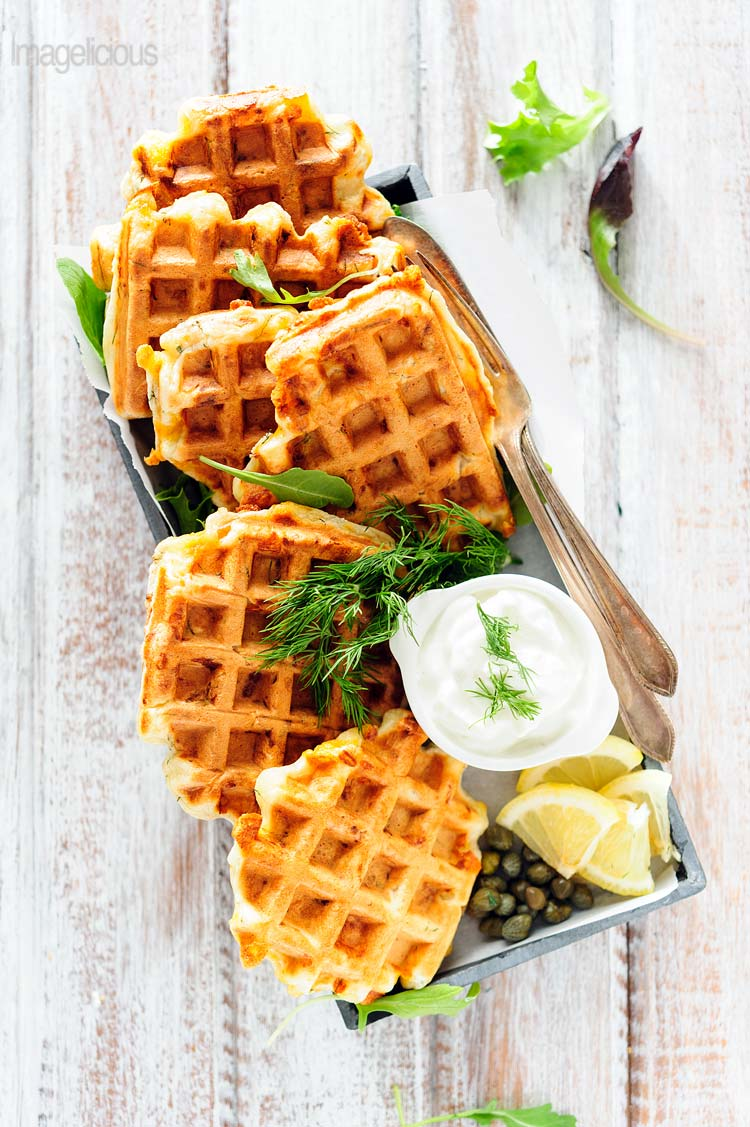 Smoked Salmon and Dill Waffles from Julia of Imagelicious.