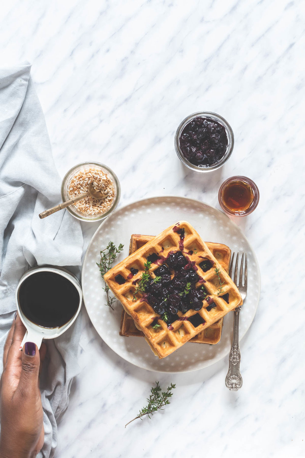 Orange & Thyme Waffles with Blueberry Compote from Recipes from a Pantry by Bintu.