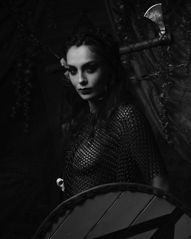Viking | Dark times #got #vikings #chainmail #axe #shield #blackandwhite #photography #fuji