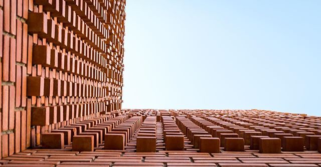Brick detail on the exterior facade of the Yves Saint Laurent museum in Marrakech Morocco. @studioko