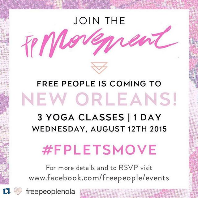 #Repost from @freepeoplenola ・・・ Join us as we  take over @reynstudiosnola on Wednesday, August 12th for a day of wellness and yoga filled with giveaways, light bites, and refreshments from @eatcitygreens. Visit www.facebook.com/freepeople/events for more details and to RSVP! #FPLETSMOVE ... Should be a delicious day with @eatcitygreens and @locallypreserved on hand!