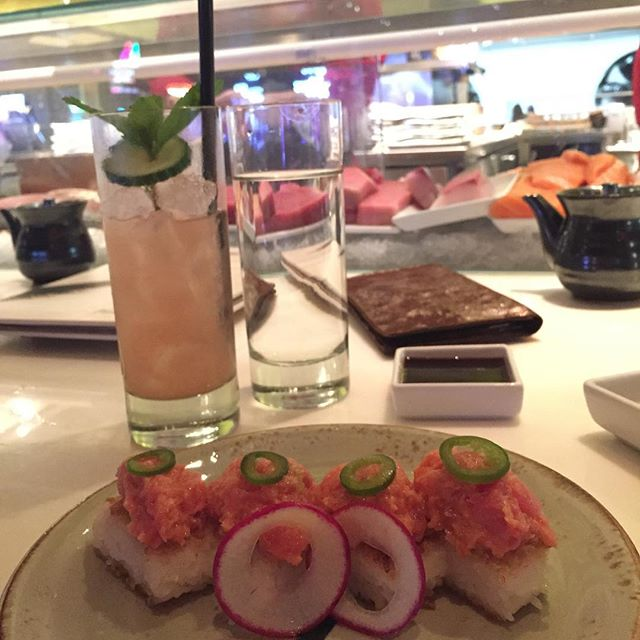 Tonight was an amazing dinner @katsuyabysbe in the @slslasvegas Crispy Rice with Spicy Tuna is warm and nice with a little something called spice...along with the Watermelon Cucumber Mojito...yes PLEASE! Plus, my sushi chef was really funny and cool! #PackExpo2015 👏🏻😍💃🏻🐟🐙🌍