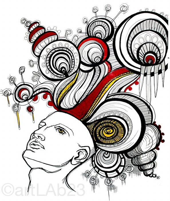 Thinking Head. Original Drawing by Carissa