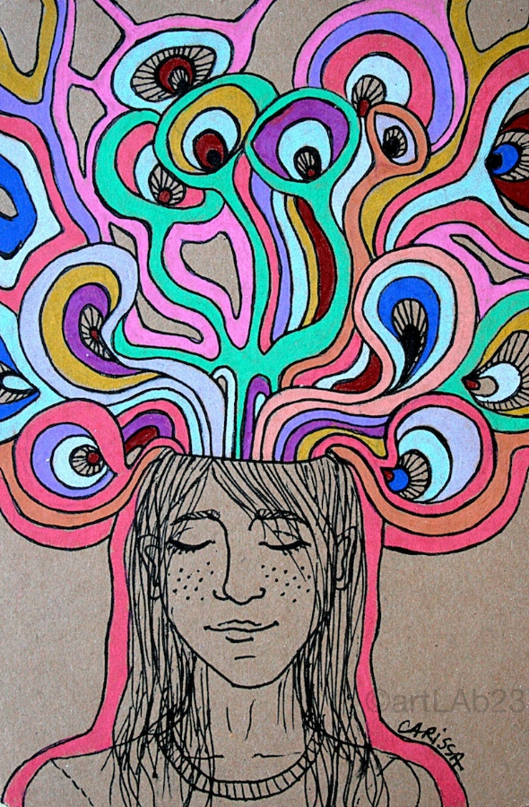 Creative Thinking Girl. Original Drawing by Carissa