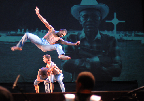 Dancers performing Zydeco, Zaré at the Heymann Performing Arts Center, photo by James Edmunds