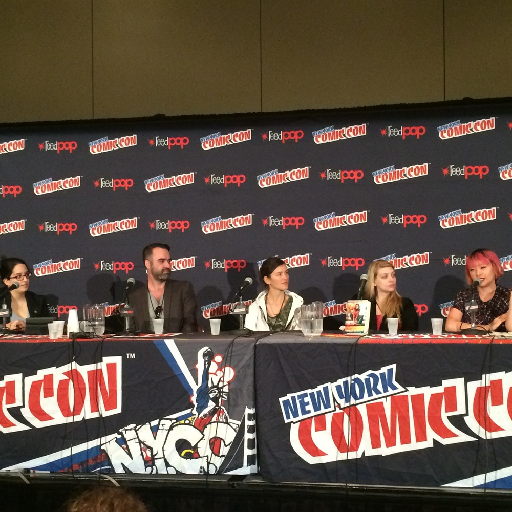 """Fight What You Know"" panel at Comic Con 2014 (L to R): Susana Polo, Brenden Fletcher, Danica Novgorodoff, Amber Benson, Wendy Xu. Photo credit: Twitter/@SamMaggs"