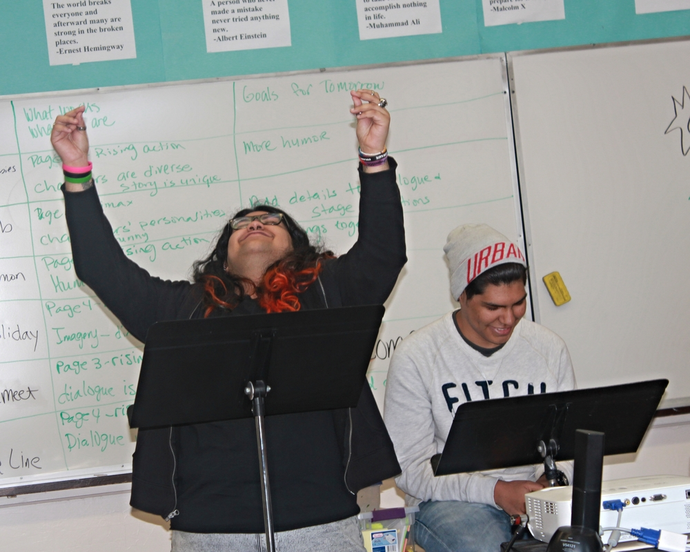 Students rehearse their one-act plays.