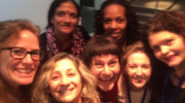 ARIADNE in Dublin: L-R Georgie Weedon, Iman Aoun, Ruwanthie de Chickera, Frédèrique Lecomte, Hope Azeda, Susannah Tresilian, Dijana Milosevic