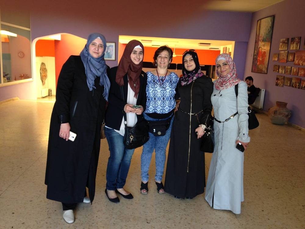 Photo of Iman Aoun (c) with four of the women who have given their Monologues to us.