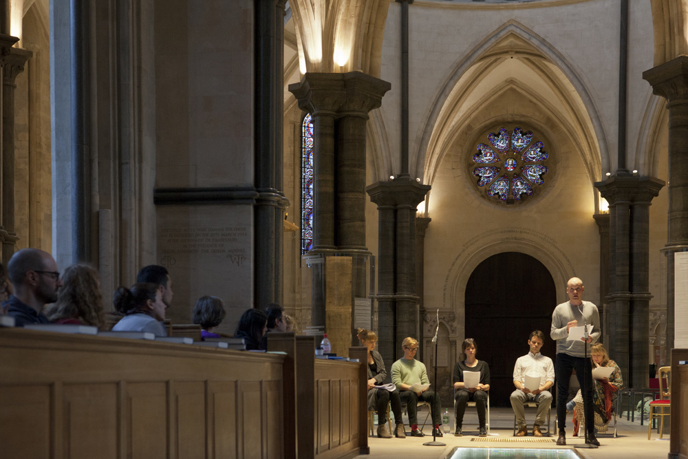 Actors performing The Syrian Monologues, directed by Susannah Tresilian, at Temple Church in London. June 2016.