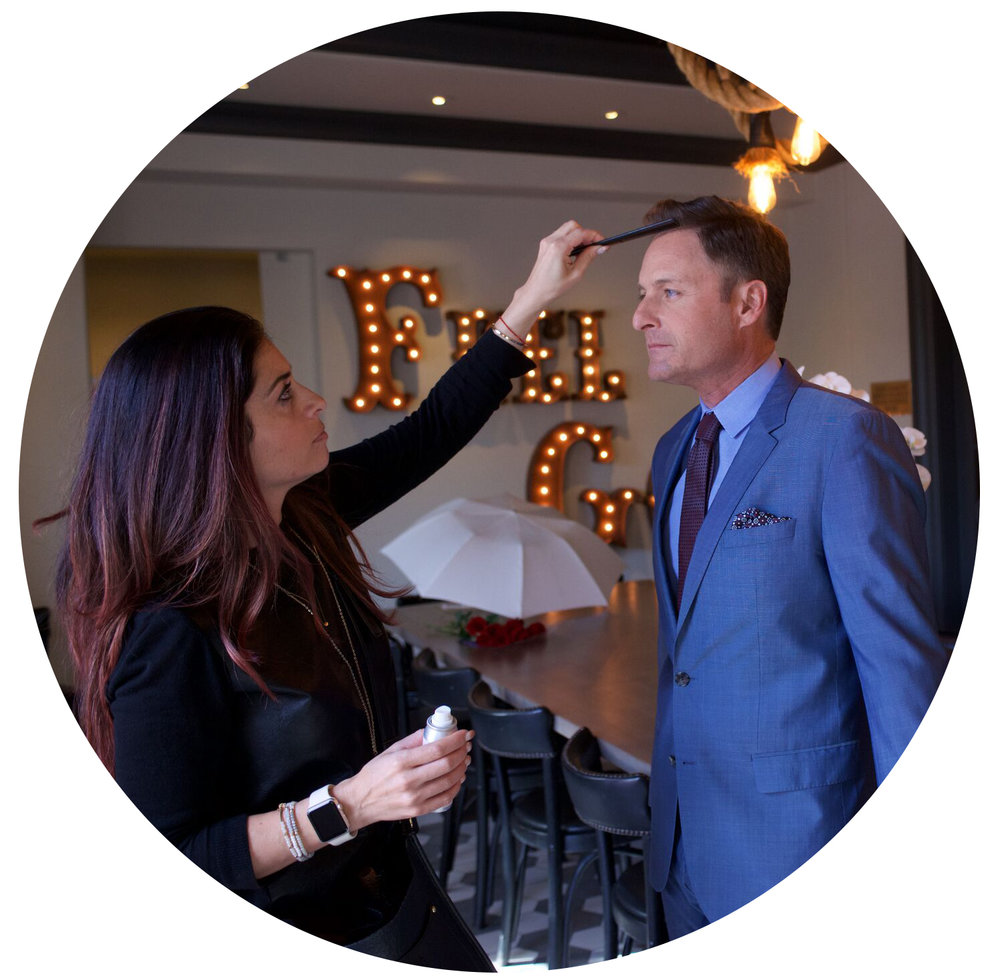 Raychel styling The Bachelor's host Chris Harrison