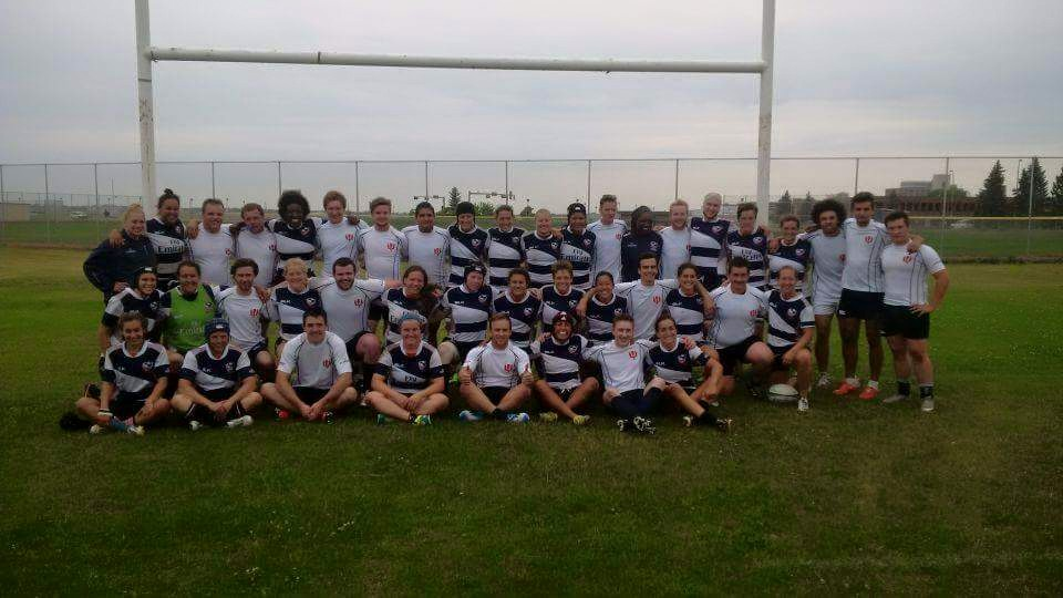 the u19 and u21 clansmen with members of the usa women's eagles 2015 squad after their scrimmage at the clan