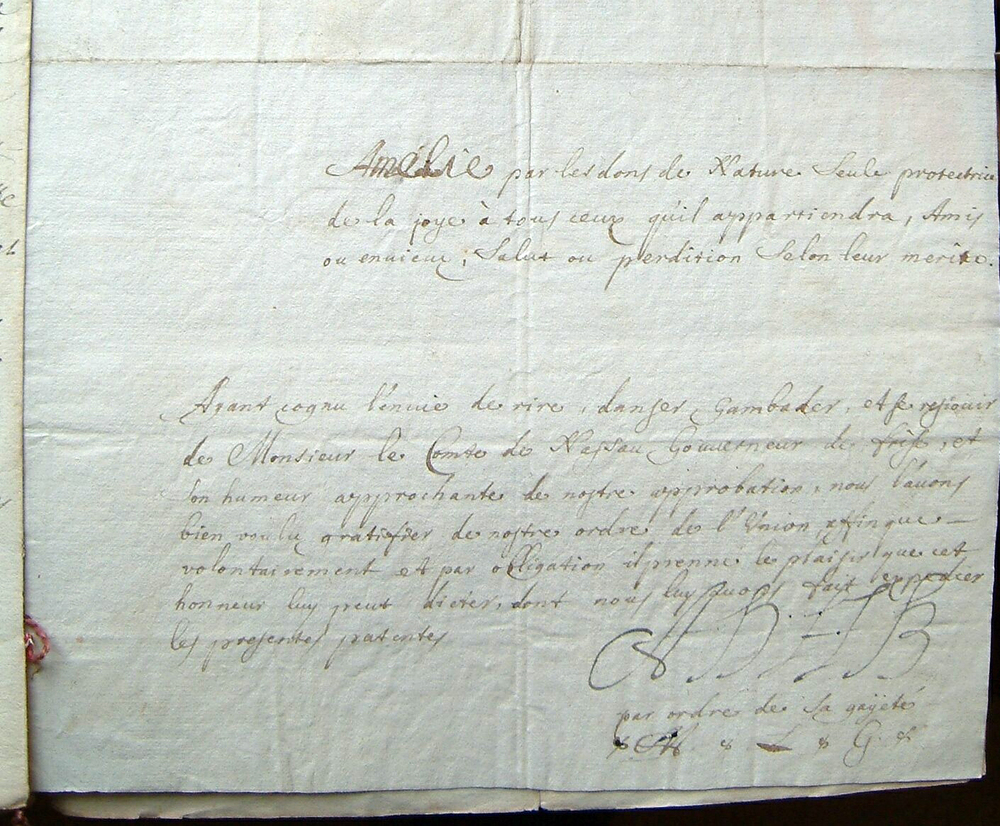 Fragment of the regulations with signature from Amalie van Brederode, Archive Amalia van Solms, 14 AXIII, 21, Royal Archives, The Hague, The Netherlands