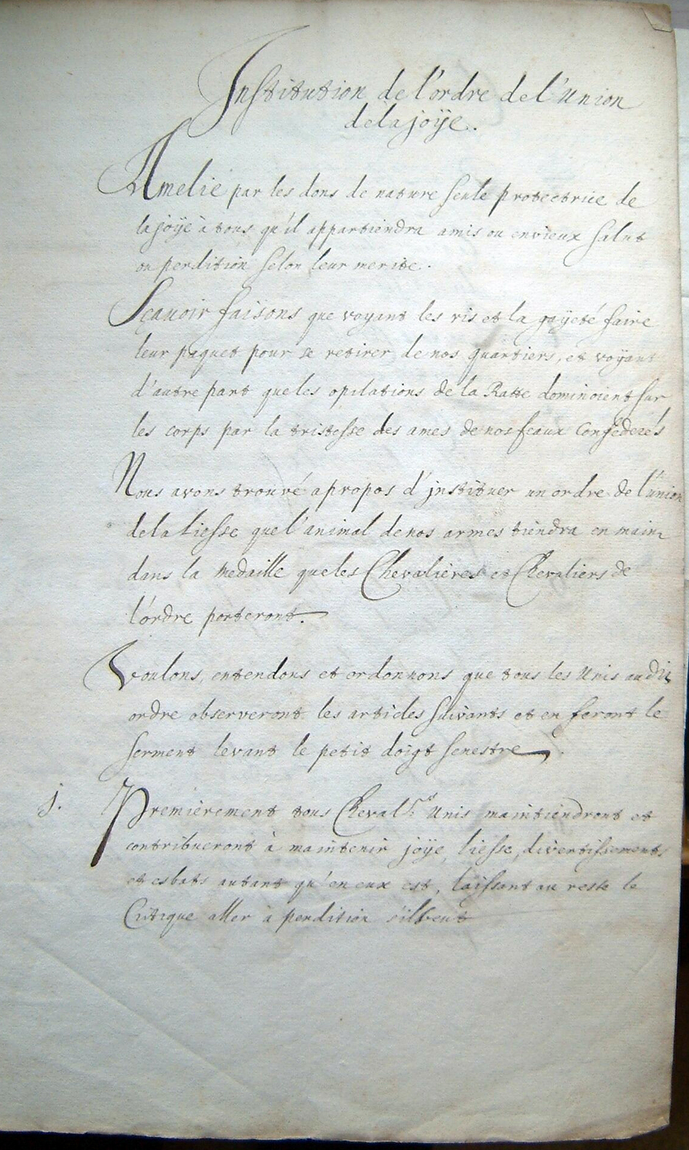 First page of the regulations of the Order of the Society of Joy, Archive Amalia van Solms, 14 AXIII, 21, Royal Archives, The Hague, The Netherlands