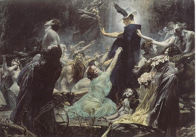 Adolf Hirémy-Hirschl,   The Souls of Acheron  , 1898),  Österreichische Galerie, Belvedere