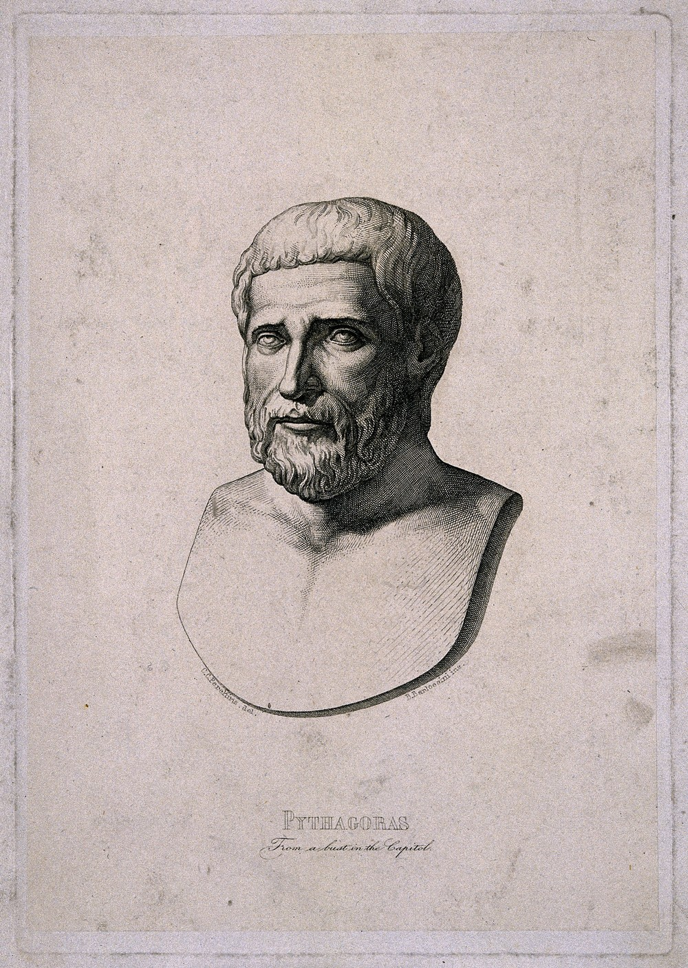 Pythagoras, line engraving by B. Barloccini after C.C. Perks, 1849