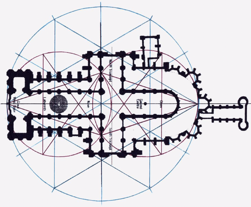Chartres Cathedral, France,  ground plan with Vesica Piscis