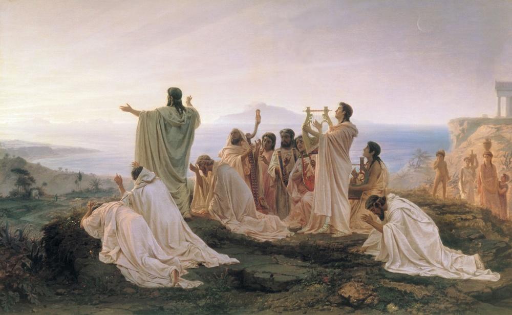 Fyodor Bronnikov, Pythagoreans celebrate sunrise (Pythagoreans' Hymns to the Rising Sun), 1869,Tretyakov State Gallery
