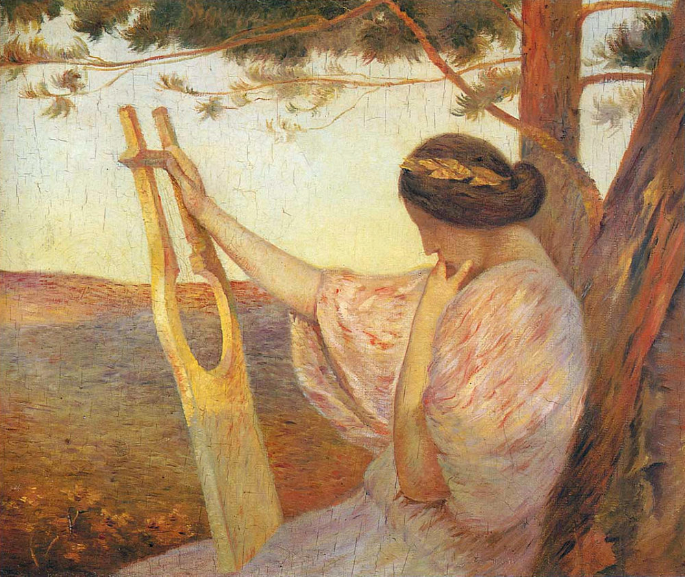 Henri Martin, Lady with a Lyre by Pine Trees, 1890, Location unknown
