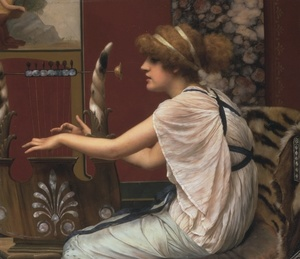 John William Godward, The Muse Erato at Her Lyre,1895, Private collection