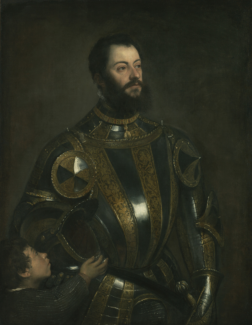 Titian, Portrait of Alfonso d'Avalos, Marquis of Vasto, in Armor with a Page, c.1533, The J. Paul Getty Museum