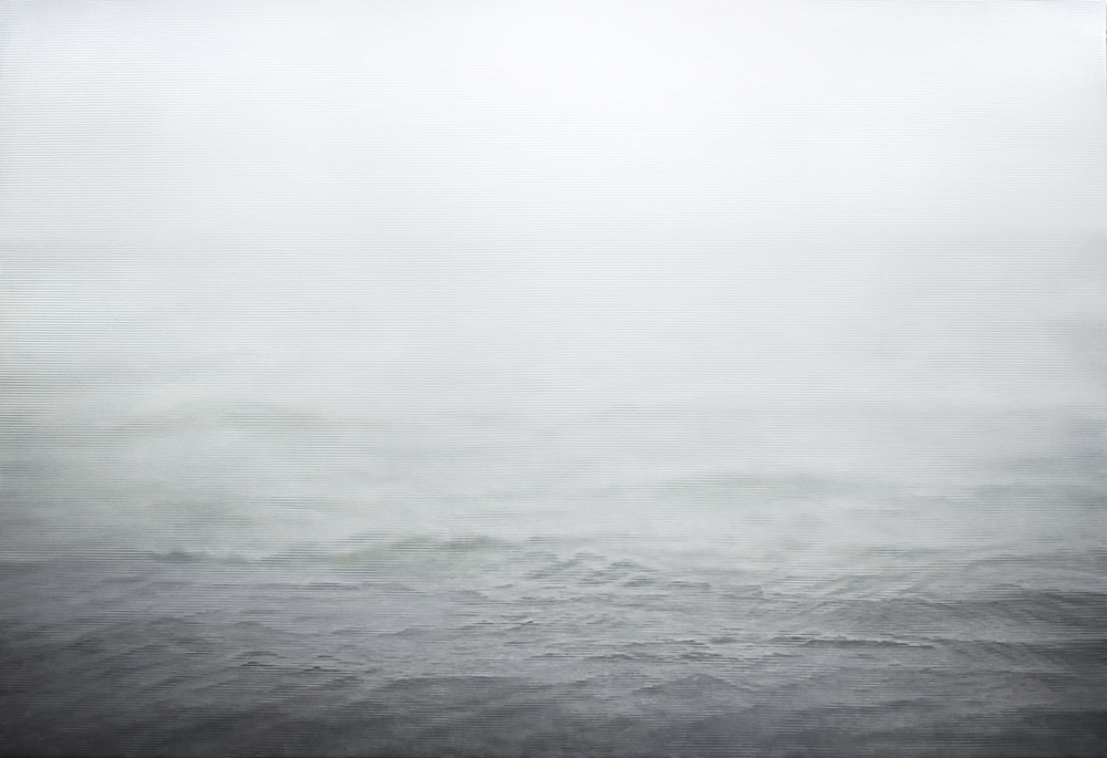 Caomin Xie, Still Image 106 - Fog on the Ocean, 2005, oil on canvas, 65 by 96 inches
