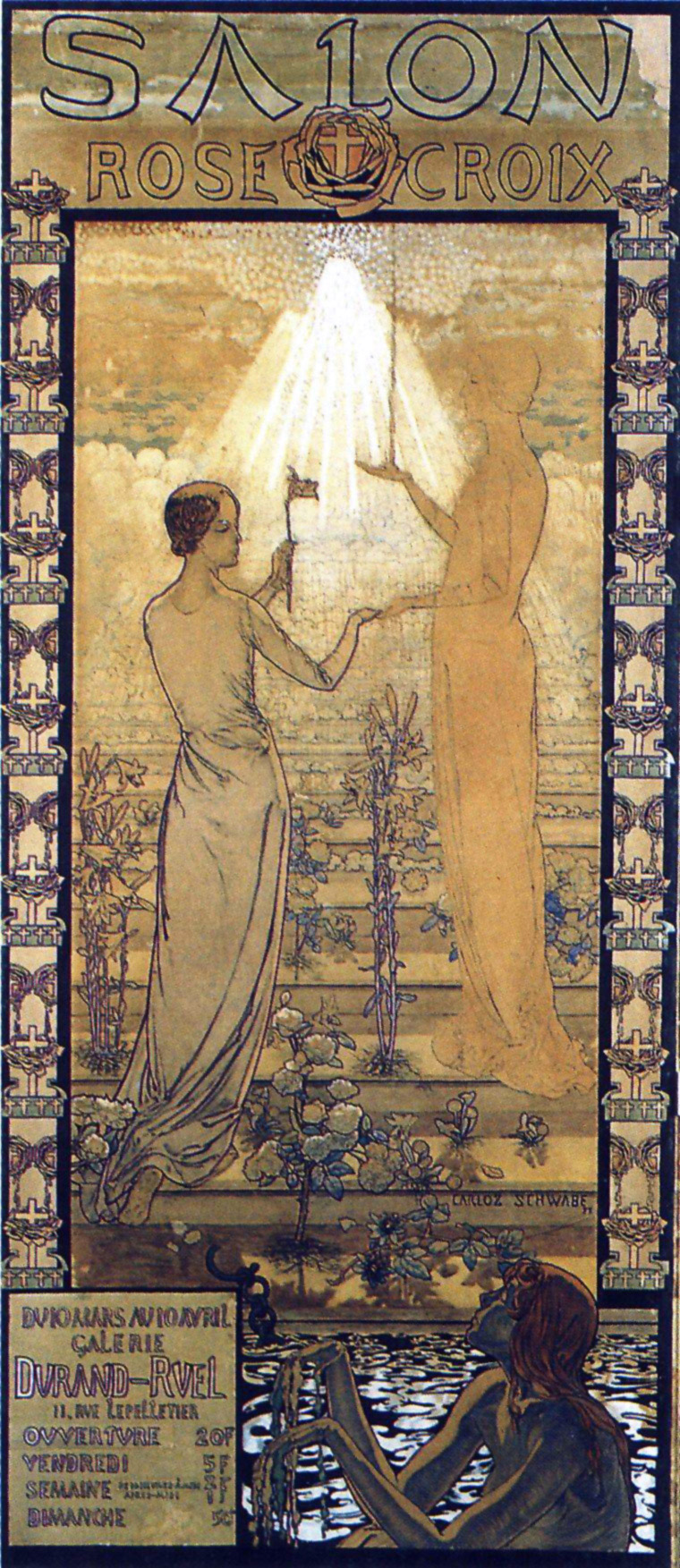 Poster for the first Rose+Croix Salon, 1892, designed by Carlos Schwabe.