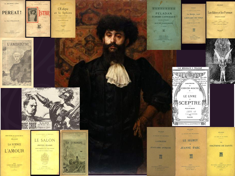 Portriat of Péladan, Marcellin Desboutin, 1891, superimposed with some of his books, Musée des Beaux-arts d'Angers, France.