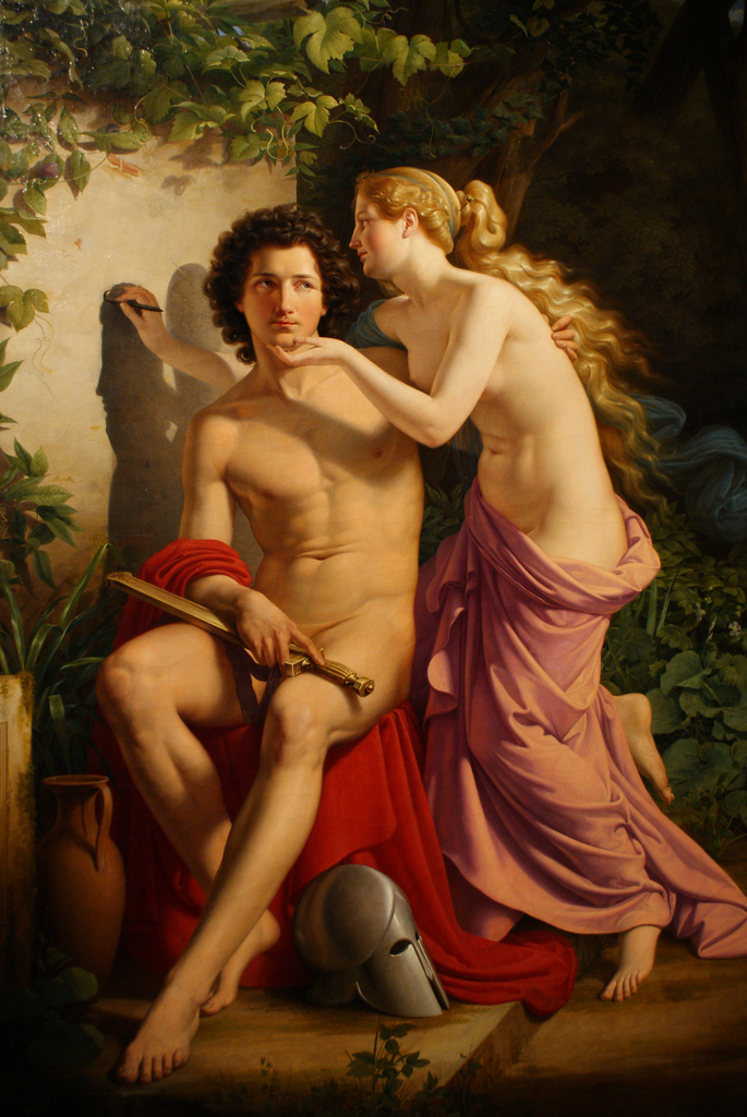 The Myth of Butades,    Edouard Daege, 1832, Nationalgalerie Berlin. Germany.
