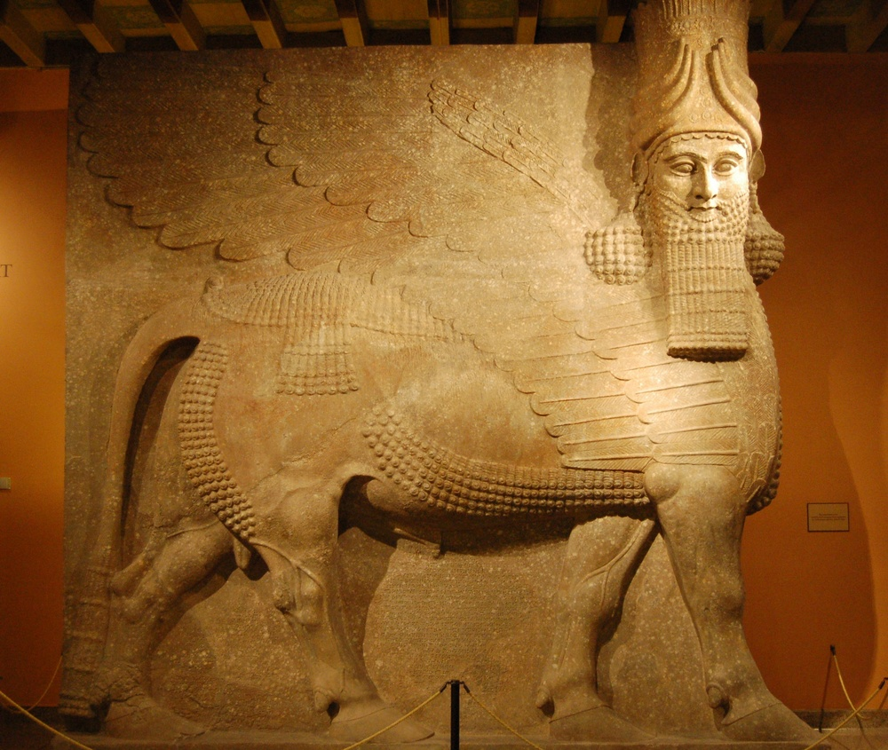 The Lamassu , or Assyrian winged bull, University of Chicago Oriental Institute, USA,  c. 721-705 BCE.
